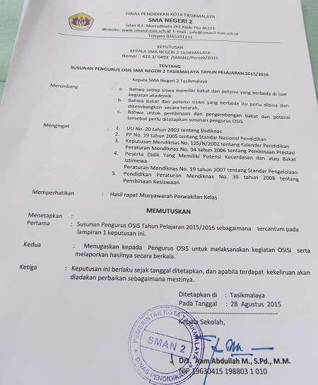 Pelantikan Pengurus Osis Periode 2015 2016 Sman 2 Tasikmalaya